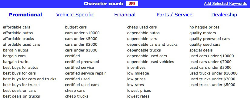 Seo Used Car Meta Keywords