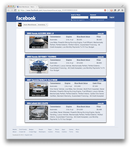 Inventory Displayed to Look GREAT on Facebook